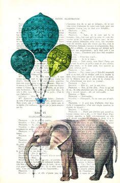 elephant print - elephant wall art - vintage dictionary art print home decor. $7.99, via Etsy.