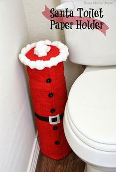 Santa Toilet Paper Holder Tutorial / Busy Mom's Helper Cute idea but felt next to the toilet?note working for me. Just the cans or PVC pipe would be better. Just paint them and decorate accordingly. At least it could be washed. Simple Christmas, All Things Christmas, Winter Christmas, Christmas Holidays, Christmas Decorations, Christmas 2017, Christmas Toilet Paper, Christmas Bathroom, Christmas Projects