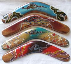 Boomerangs. Beautifully detailed work by the original Australians, the Aboriginals, who have thousands of years of teachings and stories to use as inspiration.