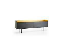 Stockholm, wood buffet with metal top in various finishes