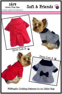 Dog Clothes SEWING PATTERN 1679 Dress Coat for the Little Dog $8.25