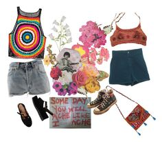 """Untitled #1968"" by momoheart ❤ liked on Polyvore featuring Jeffrey Campbell, Clare Celeste, Levi's, NOVICA and Converse"