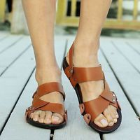 Men's Sandals Outdoor Beach Slippers Leather Sport Sandals Shoes