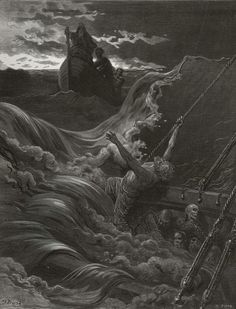 Under the water it rumbled on, Still louder and more dread. - from The Rime of the Ancient Mariner - by Paul  Gustave Dore - Plate 30 (Pisan, engraver)