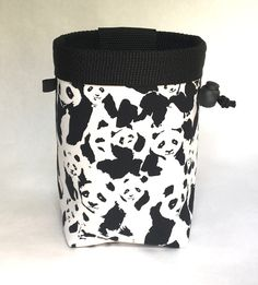 panda chalk bag, chalk bag climbing, rock climbing, climbing gear, black and white