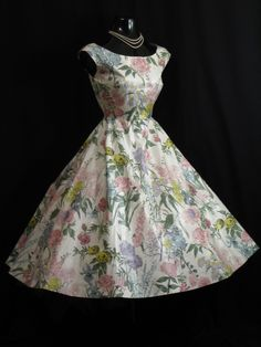 1950's White Floral Polished Cotton Party Dress