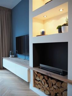 living room designs by property brothers House Design, Home, Home Fireplace, Living Room With Fireplace, Modern House, New Living Room, Family Room Makeover, Cosy Living Room, Fireplace Furniture