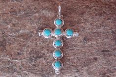 Navajo Indian Jewelry 7 Stone Sterling Silver Turquoise Cross Pendant! #Unbranded