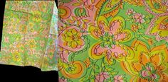"Vintage 60s FABRIC NOS Daisy Floral Print Flower Power Mod Pink & Lime Print 6 1/4 Yards 45"" Wide Deadstock"