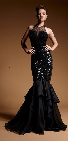 Evening gown, couture, evening dresses, formal and elegant Zuhair Murad Black Gown...Very Glamarous! #black