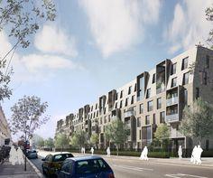 Alison Brooks Architects _ South Kilburn Estate Regeneration _ Bronte and Fielding _ View North of Kilburn Park Road