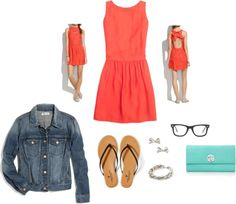 casual summer date night outfit: peekaboo back dress + jean jacket + sandals | www.tequilacupcakes.com