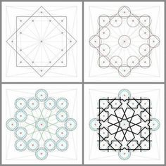 Islamic Patterns and How to Create Them Check the Tutorials Islamic architecture has its own unique charm and if you dig deep down to the base of this charm you will find it has a lot to do with geome Geometric Patterns, Tile Patterns, Geometric Designs, Pattern Art, Geometric Shapes, Zentangle Patterns, Geometric Wall, Motifs Islamiques, Islamic Motifs