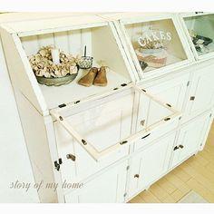 My Shelf/ナチュラル/ハンドメイド/DIY/フォトフレームリメイク/ガラスケース風...などのインテリア実例 - 2016-02-20 16:42:00 Diy Interior, Diy Kitchen, Kitchen Ideas, Wood Boxes, Open Shelving, Diy And Crafts, Cabinet, Storage, Room