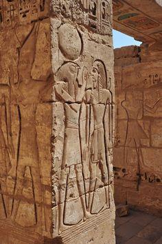 Ancient Egypt: Horus and Ra in a column at El - Karnak temple, Luxor, Egypt by Ashraf Adil on Egyptian Temple, Ancient Egyptian Art, Ancient Ruins, Ancient History, Egyptian Drawings, Ancient Egyptian Architecture, Arte Tribal, Egypt Art, Visit Egypt