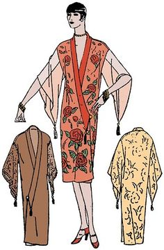 I would turn this into a wrap dress, perhaps with a  button-in panel, since I like to keep a bit of mystery. :) 1920 Ladies Kimono Negligee