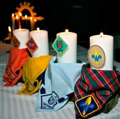 Cub Scout Candles leading up to the Arrow of Light