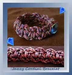 I recently acquired some gorgeous Red Heart yarns and included was a skein of bulky 5 Cordial in Jazzy.  After doing a bit of research this yarn is perfect for macramé and for jewelry.  This easy 15-minute quick bracelet works up fast and is perfect for gift giving or stocking stuffers!