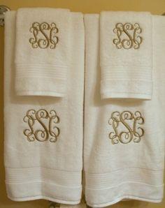 mono towel set - gonna make these Monogram Bedding, Monogram Towels, Personalized Towels, Bathroom Staging, Embroidery Monogram, Embroidery Ideas, Decorative Hand Towels, Monogram Machine, Powder Room Decor
