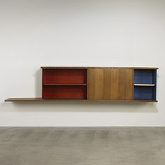 Jean Prouve, Bibliotheque from Cite Universitaire, Antony  Ateliers Jean Prouve France, 1954 laminated oak, enameled steel 117 w x 14.75 d x 26 h inches. s25