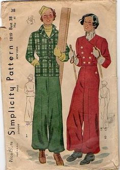 1930s Simplicity 1819 Ski suit pattern. Lined pants have shaped side hip pockets. High waisted with wide legs gathered to elasticized anklet cuff. Left side placket, closing under pocket flap and at waistline with hooks and eyes. Hip length jacket is fitted at belted waistline. Button front closure. Upper and lower front patch pockets with button. Vintage 1930s Ski Suit w/ Tailored Jacket & Wide Leg Pants Pattern B38 Simp 1819 | eBay
