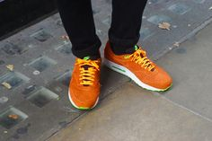 Bright Nikes #shoes #trainers #orange #green #nike #london #covent #skinnies