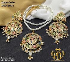 "Punjabi Traditional ""Gold Plated Jadau Navratan Pandent Set""(Next to Real) Item Code - PTJ For price please inbox with Image or… 14k Gold Jewelry, Pearl Jewelry, Wedding Jewelry, Antique Jewelry, Jewelery, India Jewelry, Glamour, Stylish Jewelry, Jewelry Patterns"