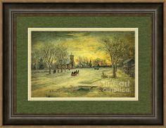 Off To Church - Christmas Eve Services Framed Print By Lianne Schneider