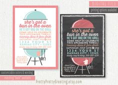 baby q baby shower invitation babyq bbq baby shower boy girl couples shower bun in the oven burgers on grill chalkboard invitations