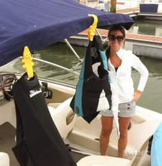 Using some Toweligators to hang dry the life jackets on the boat with @Melissa Squires Squires McCormick