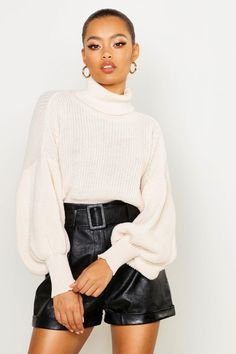 Womens Roll Neck Balloon Sleeve Knitted Jumper - White - L, White - Find Fashion Pullover Design, Sweater Design, Roll Neck Jumpers, Roll Neck Sweater, White Sweaters, Sweaters For Women, Outfits Mujer, Trends, Models