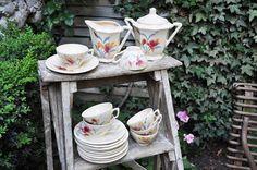 Antique French coffee set Digoin Sarreguemines / Vintage