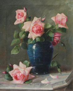 FENETTI, Frederick M., (American, 1854-1915): ''La France Roses with German Jar
