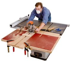 Table saw folding outfeed table pinterest router table build a folding outfeed table to mount on your table saw stand greentooth Choice Image