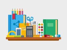 School, education items on table by Anton Frizler