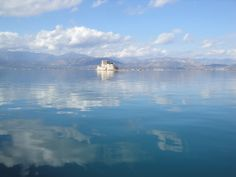 Majestic reflection of the sky over the Argolic Gulf with #Bourtzi in the middle. #Nafplio - #Greece