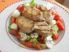 Zeleninový salát s vepřovou panenkou a mozzarellou Mozzarella, Cobb Salad, Pork, Chicken, Meat, Kale Stir Fry, Pork Chops, Cubs