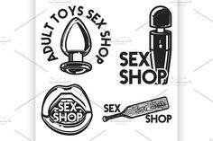 Vintage sex shop emblem by Netkoff on @creativemarket