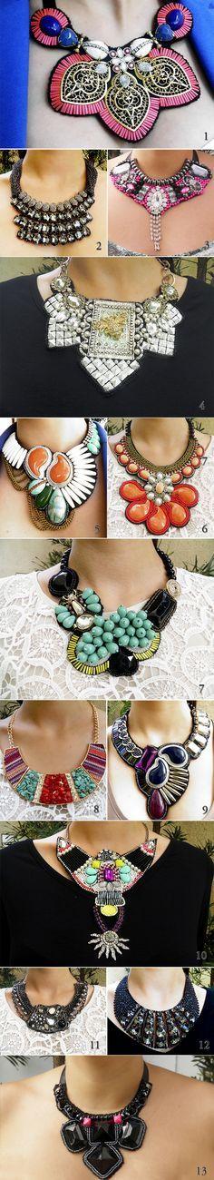 Killer bib necklaces for G :) Jewelry Accessories, Fashion Accessories, Fashion Jewelry, Jewelry Design, Beaded Jewelry, Handmade Jewelry, Jewellery, Maxi Collar, Fashion Bubbles