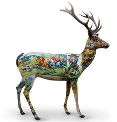 """French company Frederique Morrel, the brainchild of husband and wife team Frederique Morrel and Aaron Levin, has moved from covering poufs, footstools, pillows, furniture, and lamps in vintage needlework ......  to these updated taxidermy """"deer creatures."""""""
