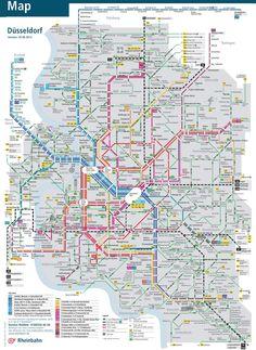 Düsseldorf bus, tram and train map Transport Map, Public Transport, Underground Map, Train Map, Rapid Transit, S Bahn, Visit France, City Maps, Business Travel