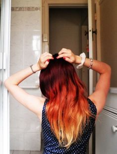 I think this is what G wanted his fire hair to look like Fire Red & Blond Ombre Hair Color Fire Ombre Hair, Fire Hair, Ombre Hair Color, Blonde Ombre, Red Blonde, Blonde Ends, Ombre Style, Blonde Brunette, Hair Colour