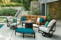 Tropitone has introduced fire pits with a smaller base so that you can sit more comfortably.