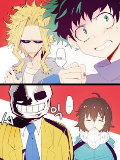 Boku no Hero Academia x Undertale || Cross-Over [ All Might, Midoriya Izuku, Sans, Frisk. ]