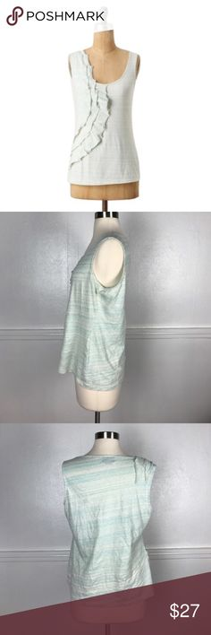 "🆕 Deletta Anthro Motif Wandering Wake Tank Top Deletta L Anthro Motif Wandering Wake Tank Top🔸Size Large🔸Motif blue color with faint lines running through🔸Layered side ruffle🔸Sleeveless🔸Round neck🔸100% Cotton🔸Bust 19.5"" across🔸Length 22.5""🔸Pre owned condition-does have minor pilling around the underarms. Anthropologie Tops Tank Tops"