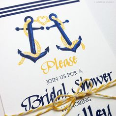 Tying the Knot Nautical Bridal Shower Invitations Modern Nautical