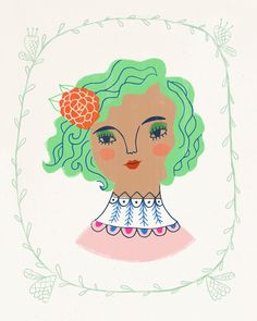 This portrait, Lotus Waves, by artist Sarah Walsh, would look lovely in any little girl's room.