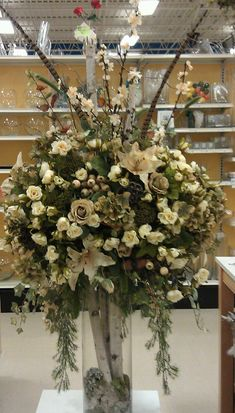 Large floral entryway wedding foyer centerpiece . Hotel floral arrangement Michaels craft #1035 NY !