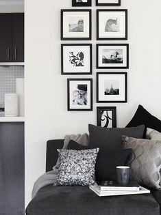 photo arrangement idea for lounge nook
