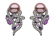 Yoko London 18kt black gold 'Aphrodite' earrings with 12-13mm natural colour, radiant orchid Freshwater pearls, 1.90cts diamonds and 3.26cts sapphires.